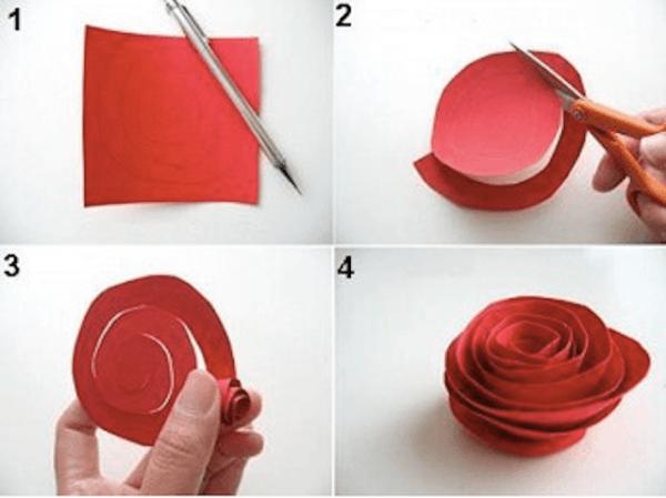 rosas de papel en rama On como hacer rosas de papel