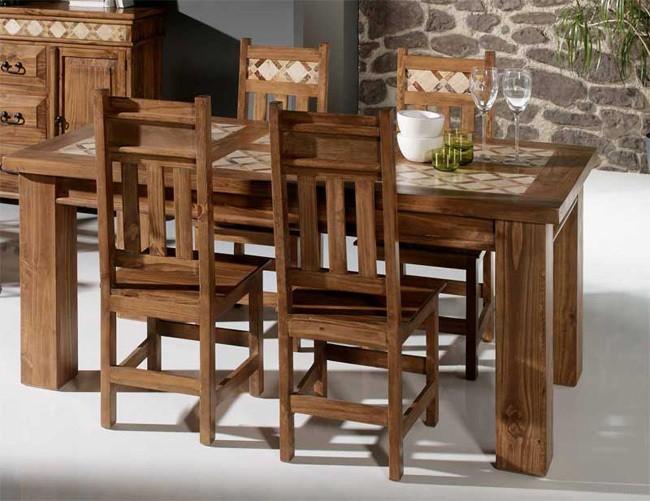 Mesa de madera ideas para decorar mesas de madera for Mesas y sillas rusticas