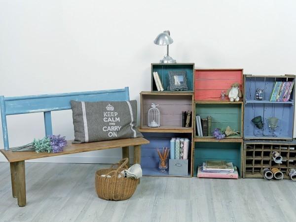 estanterías-como-hacer-estanterias-con-materiales-reciclados-cajones-pintados