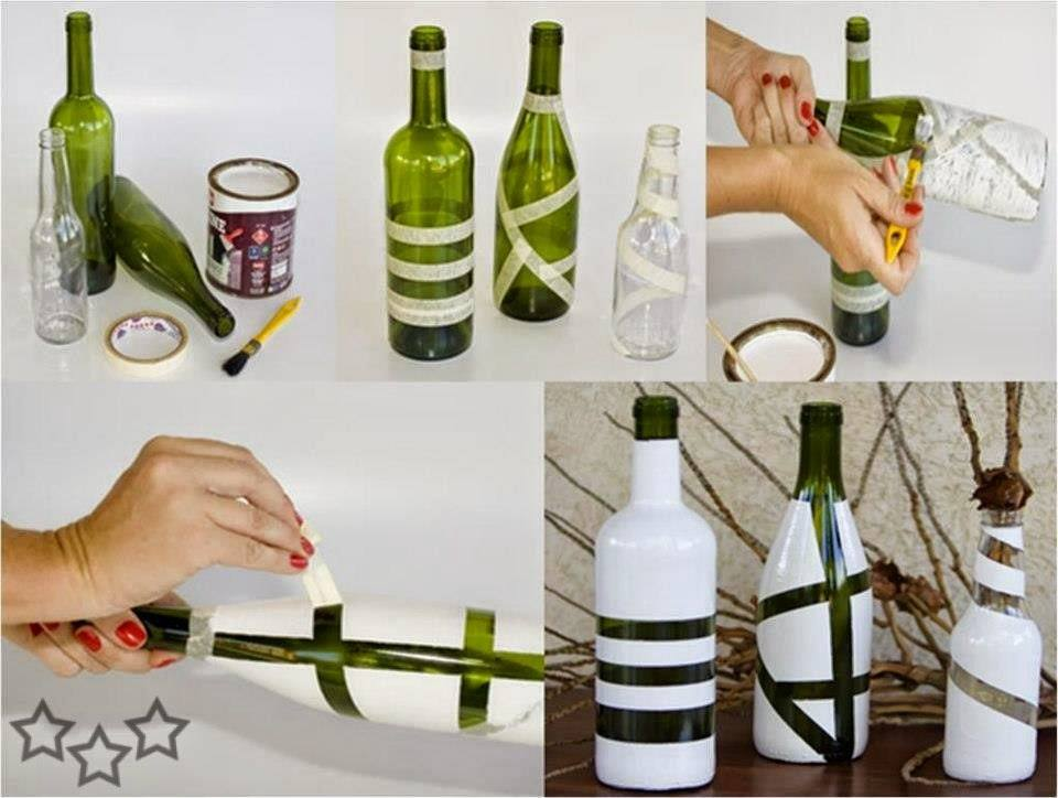C mo pintar botellas de vidrio for Botellas de cristal ikea