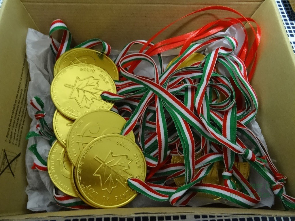 Medallas-para-fiestas-trofeos-broches-caja-con-medallas-con-cinta