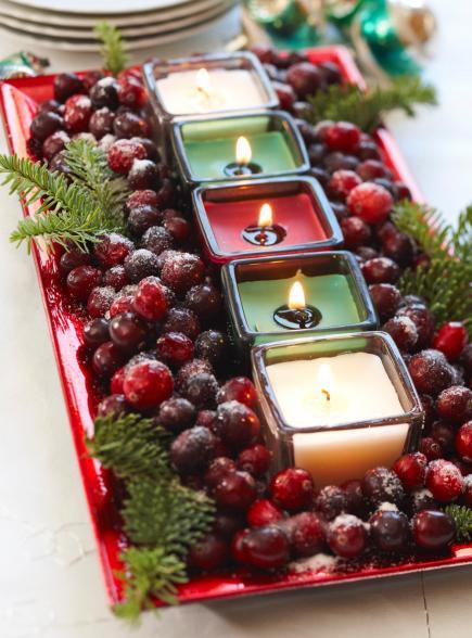 Ideas Para Hacer Centros De Mesa En Navidad 2018 Bricolaje10com - Centros-de-mesa-navideos-con-velas