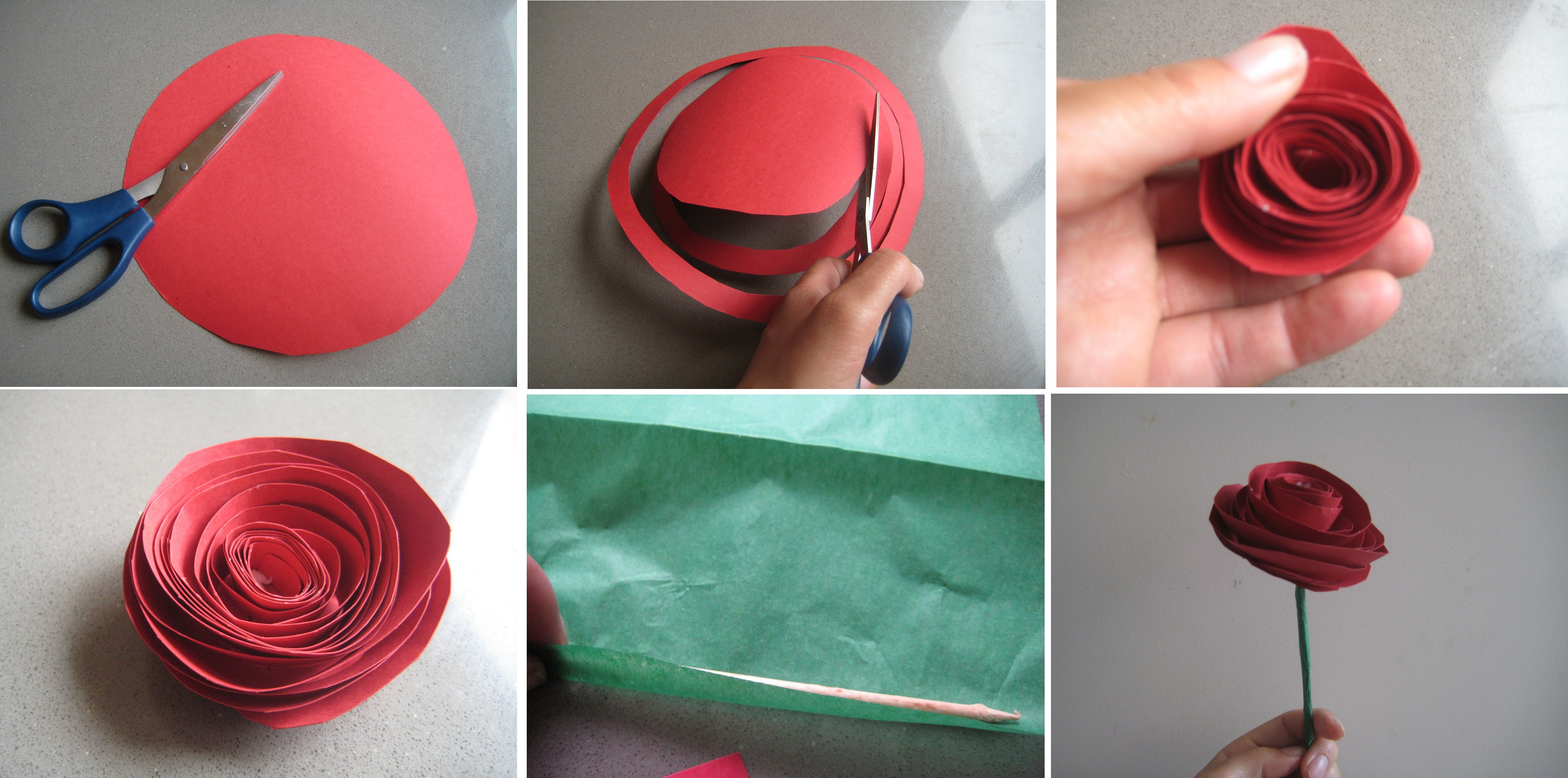 Flores de papel rosa - Como hacer rosas de papel ...