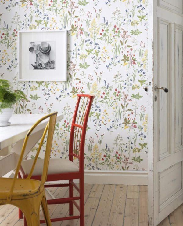 papel para paredes floreado