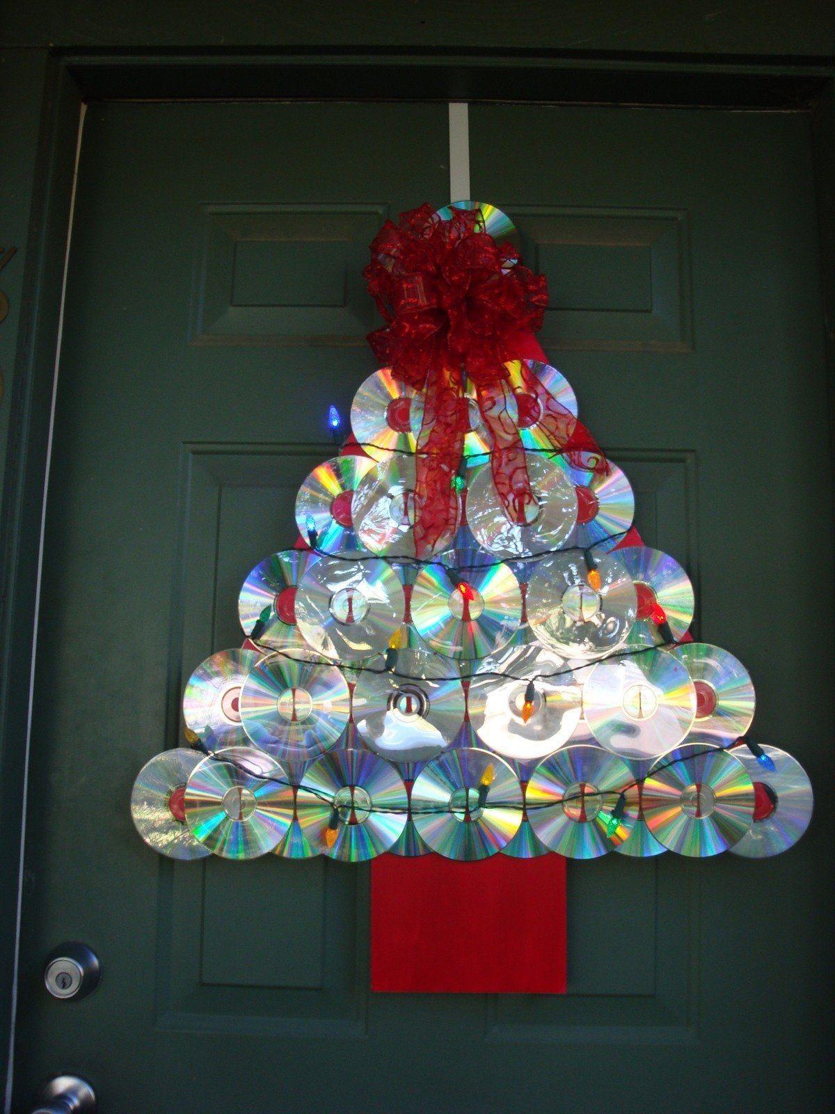 CDs reciclados arbol navideño