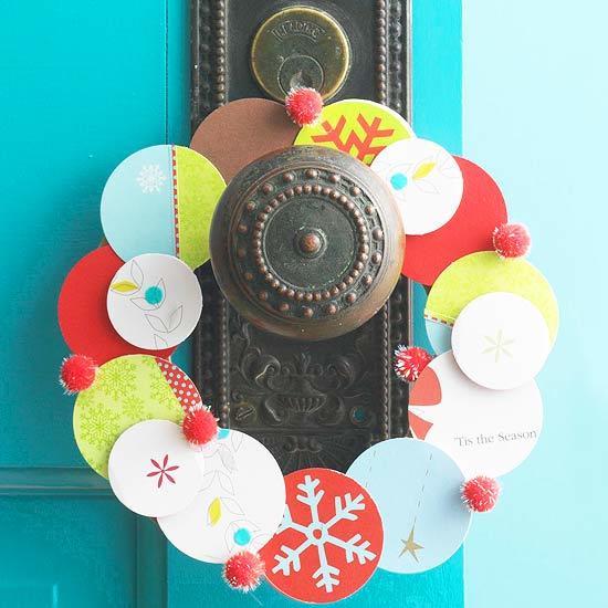 circulos de papel decoración navideña