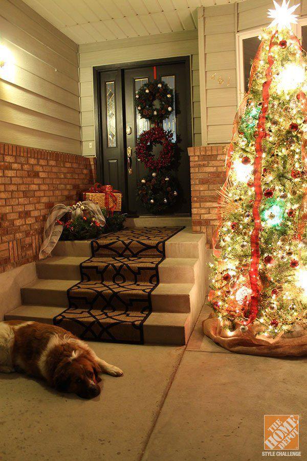 puerta navideña sobria