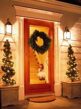 puerta navideña verde