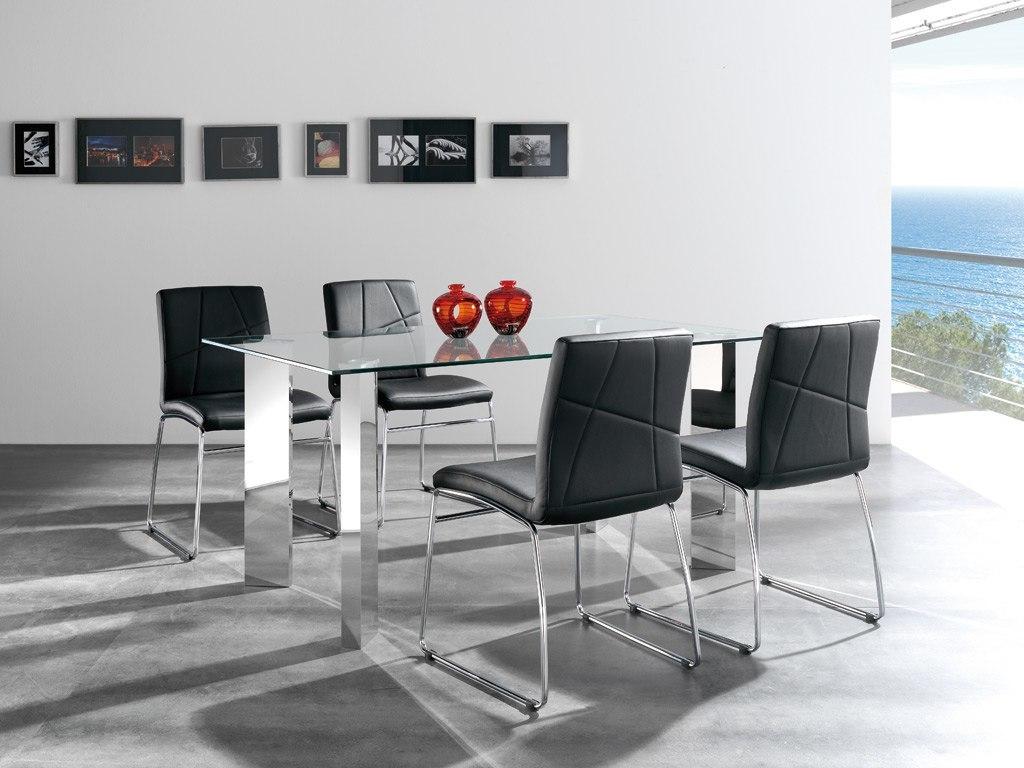 Catalogo de muebles rey 2014 2015 comedor mesa cristal for Sillas negras comedor