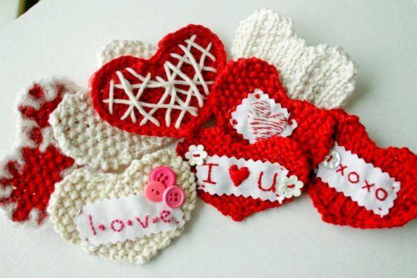 corazones tegidos san valentin