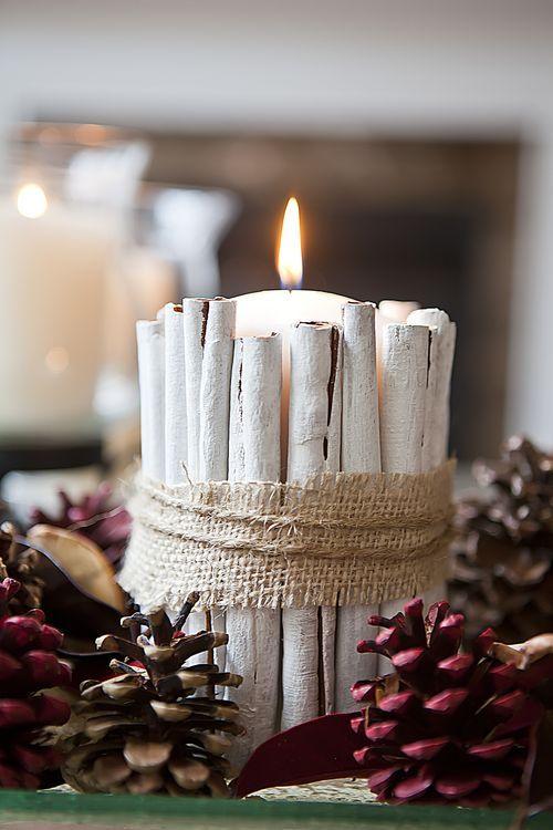 Vela decorada con troncos blancos