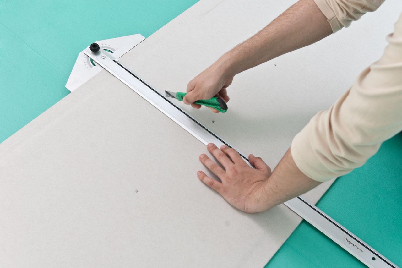 Como colocar una pared de pladur en casa cortar paneles - Como hacer una pared de pladur ...