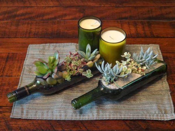 formas-de-decorar-la-casa-con-plantas-de-interior-botellas-de-vino