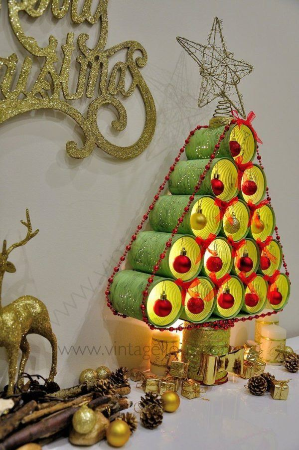 C mo hacer un rbol de navidad con material reciclado - Imagenes de arboles navidad decorados ...