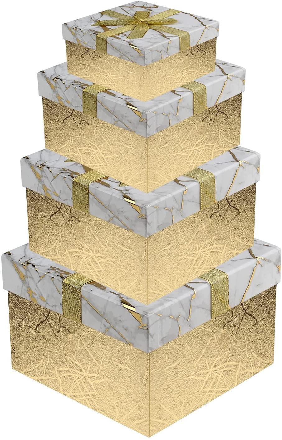 Cajas de cartón decoradas - cajas de cartón decoradas para guardar la ropa en oro