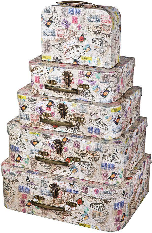 Cajas de cartón decoradas - cajas de cartón decoradas para guardar la ropa maleta fancy