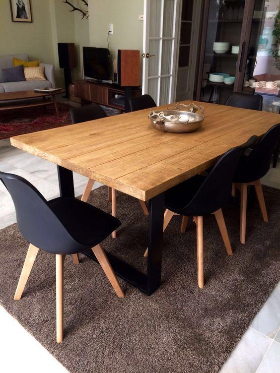 Mesa de Madera | Ideas para Decorar mesas de madera elementos de metal