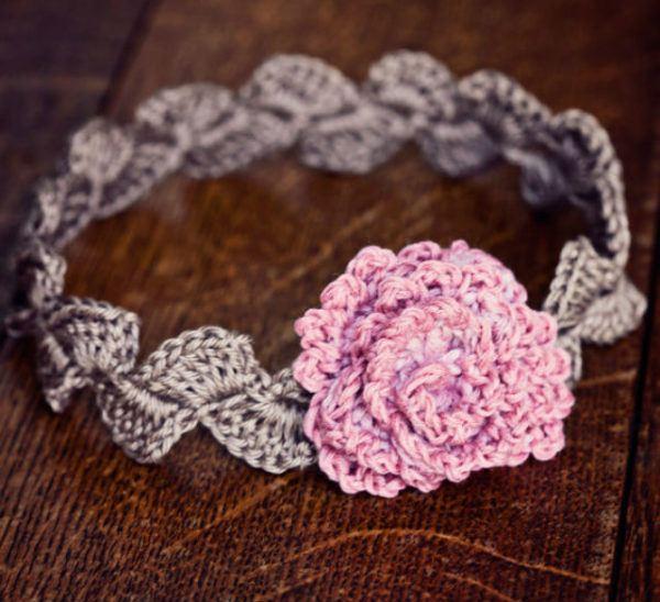 Cmo hacer diademas a crochet Para bebs y de flores Bricolaje 10