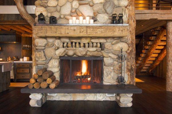 Ideas de chimeneas r sticas con encanto - Piedras para chimeneas ...