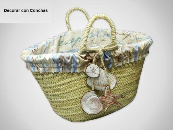 decorar cestas de mimbre con conchas - Como Decorar Cestas De Mimbre