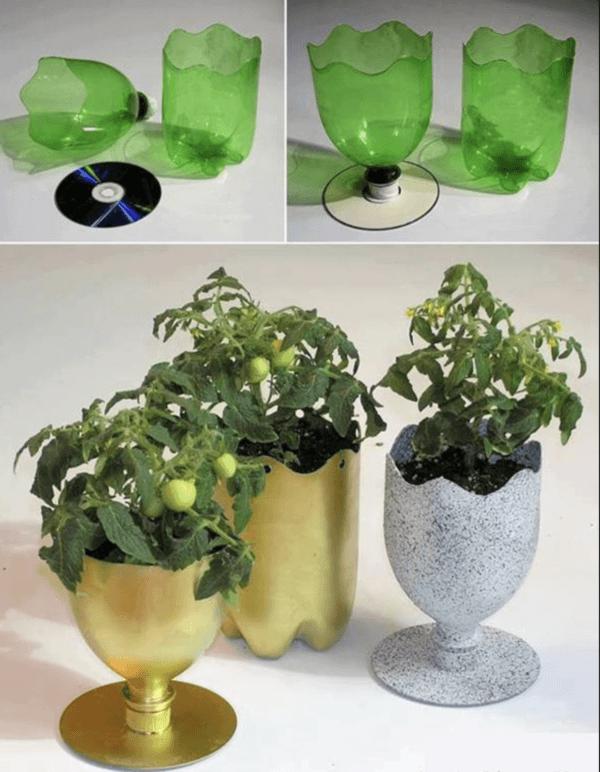 Ideas para reciclar - Reciclar ropa, botellas y envases maceta