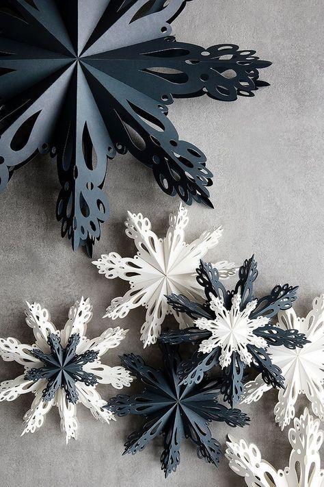 Cómo hacer un copo de nieve de papel para la decoración en Navidad negros