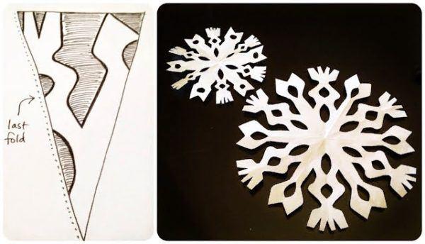 Cómo hacer un copo de nieve de papel para la decoración en Navidad plantilla top