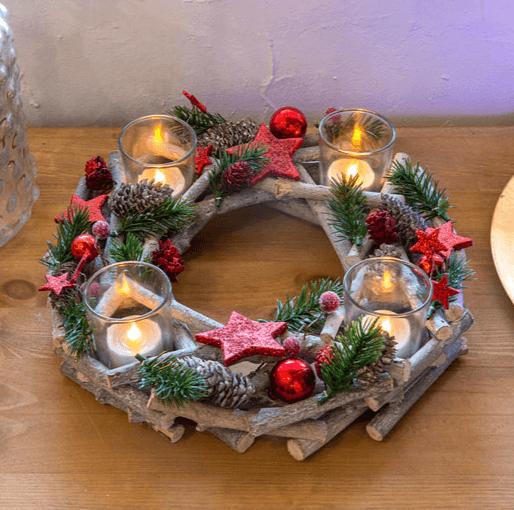 Catálogo Navidad Leroy Merlin 2020 centro de mesa natural con velas