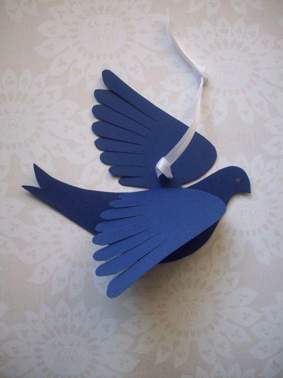 Cómo hacer palomas de papel en Navidad goma eva