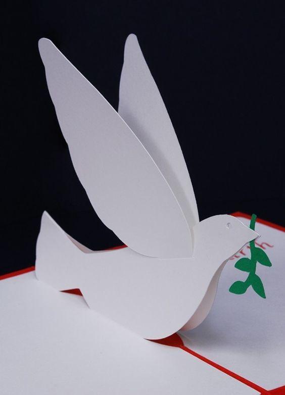Cómo hacer palomas de papel en Navidad ramita