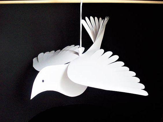 Cómo hacer palomas de papel en Navidad portada árbol