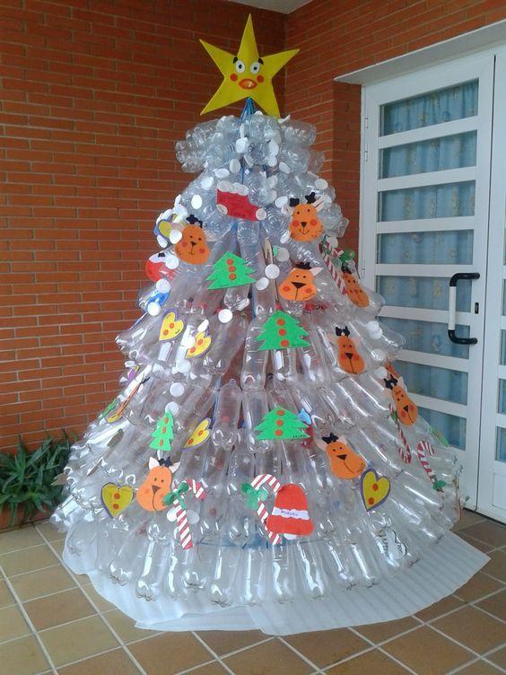 Cómo hacer un árbol de navidad con material reciclado botellas plástico