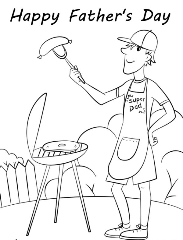 Dibujos para colorear para el Día del Padre barbacoa