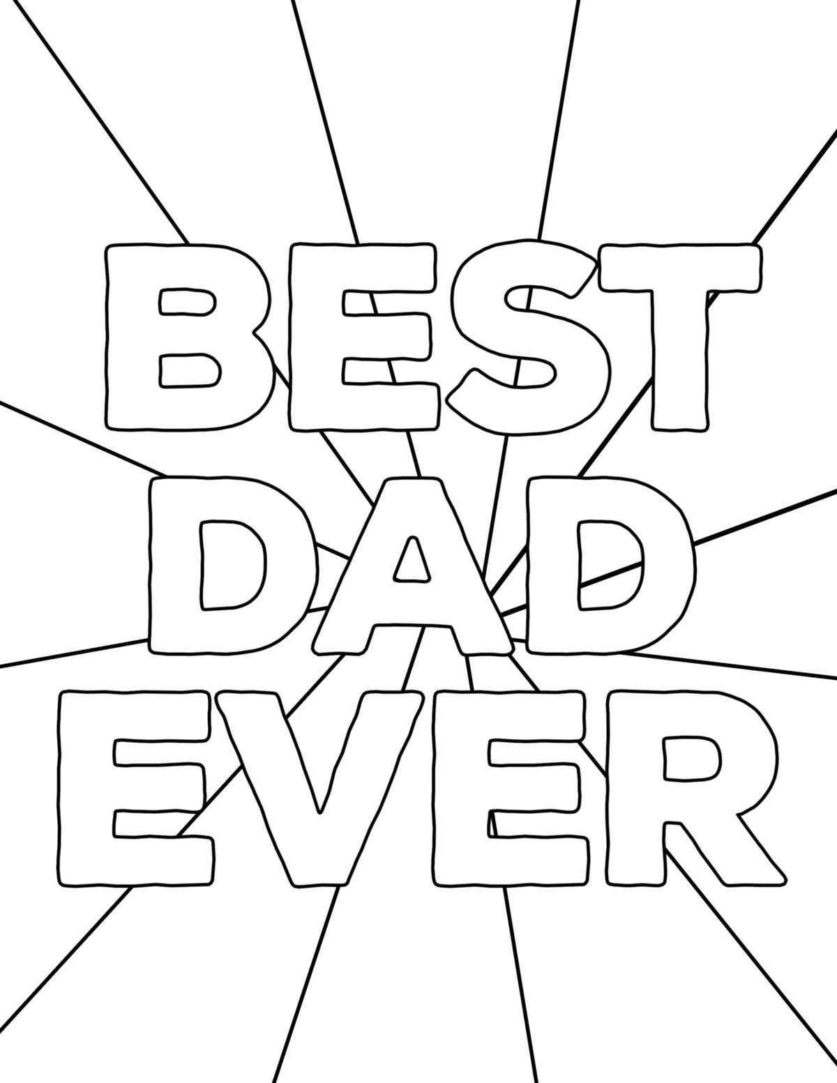 Dibujos para colorear para el Día del Padre Best Dad Ever