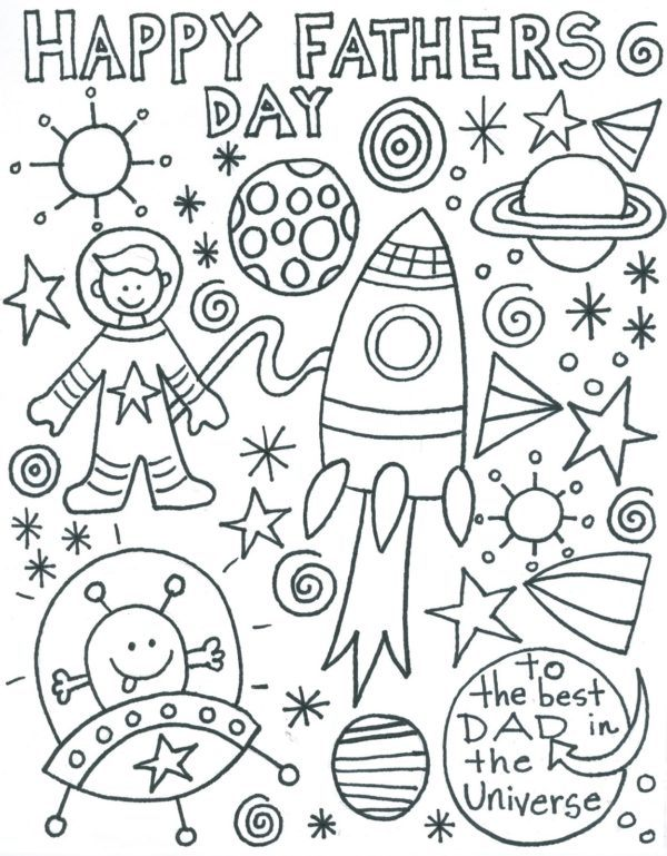 Dibujos para colorear para el Día del Padre collage espacio