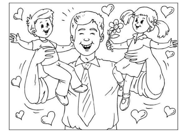 Dibujos para colorear para el Día del Padre brazos