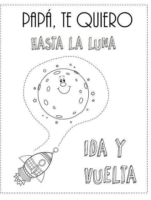 Dibujos para colorear para el Día del Padre a la luna