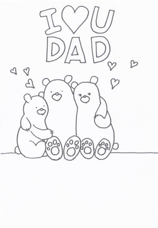 Dibujos para colorear para el Día del Padre familia oso
