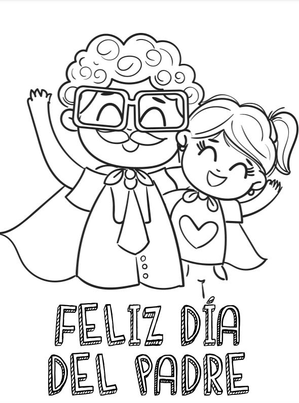 Dibujos para colorear para el Día del Padre papá con gafas