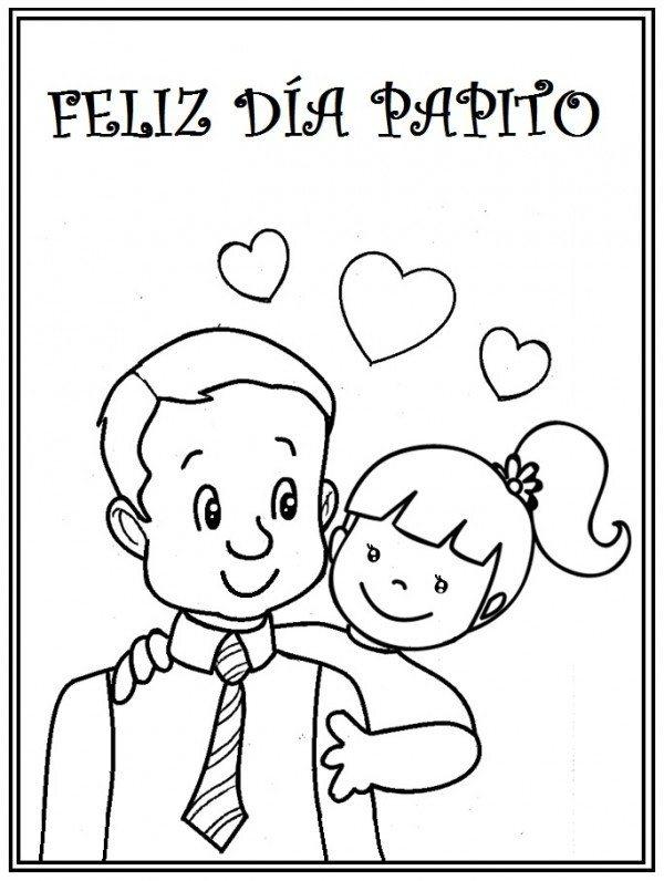 Dibujos para colorear para el Día del Padre padre e hija