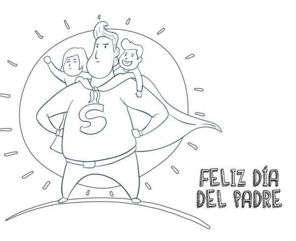 Dibujos para colorear para el Día del Padre superpapá