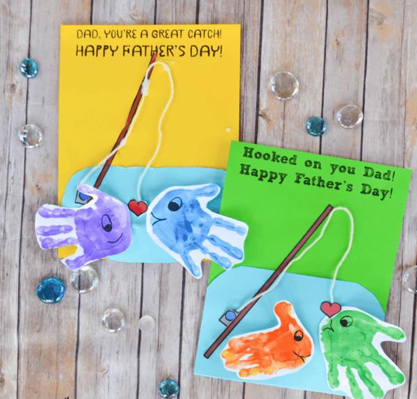 Tarjetas para el Día del Padre con materiales reciclados peces