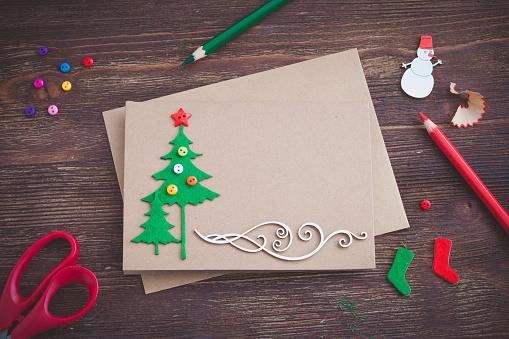 Tarjetas de navidad elegantes con cartulina fieltro