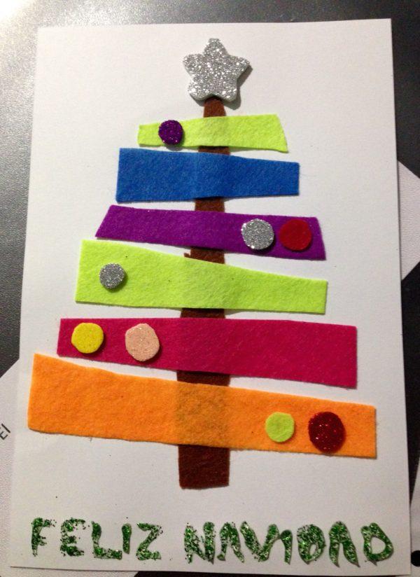 Tarjetas de navidad elegantes manualidad infantil