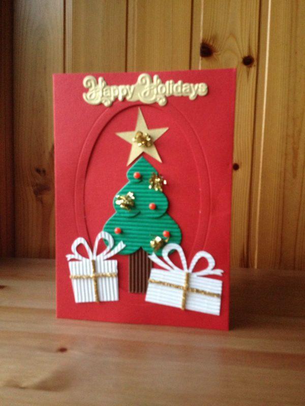 Tarjetas de navidad elegantes manualidades con carton corrugado
