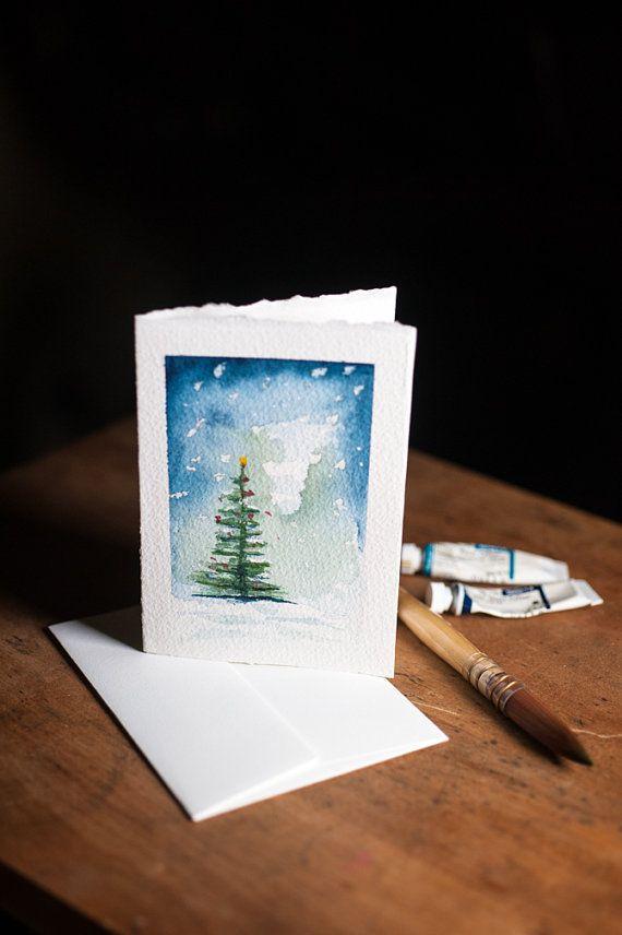 Tarjetas de navidad elegantes manualidades con dibujo tempera