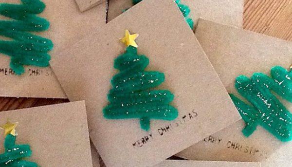 Tarjetas de navidad elegantes manualidades con limpiapipas