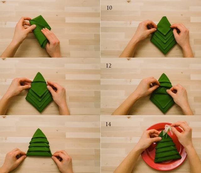 7 formas originales de doblar servilletas para Navidad