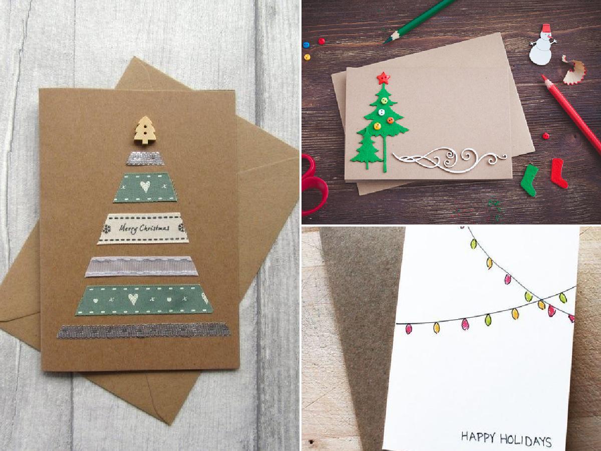Elegantes tarjetas navideñas hechas a mano 2021