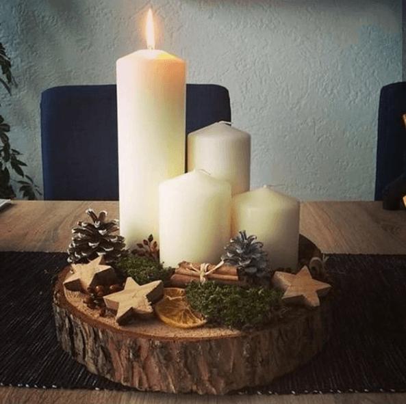 Centro de Mesa de Navidad 2020 velas y tronco